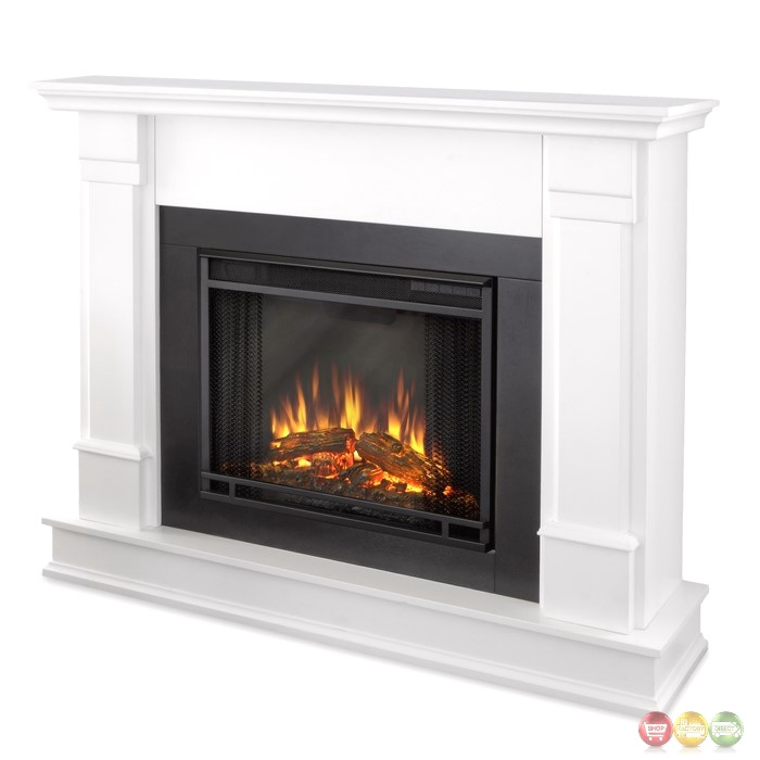Silverton VIVID LED Electric Heater Fireplace In White, 4700BTU, 48x41