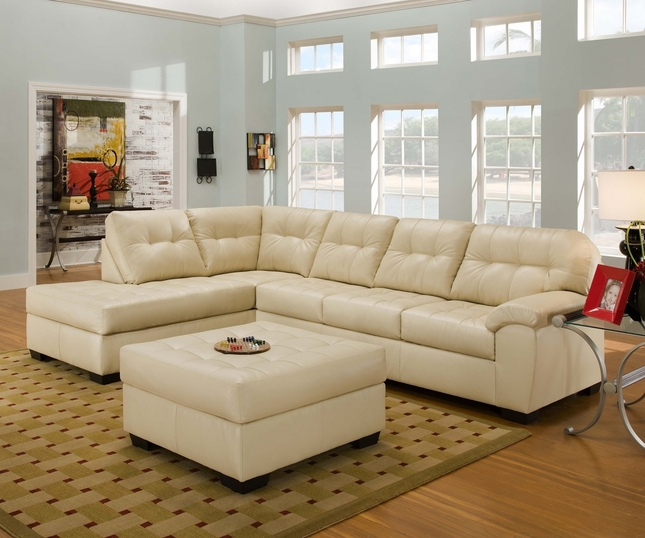 Simmons Soho Contemporary Ivory Bonded Leather Sectional Sofa