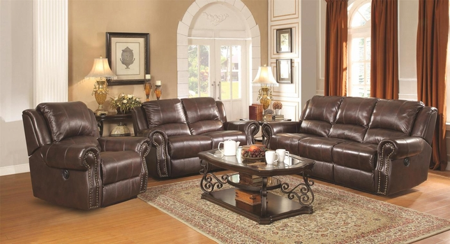 Sir Rawlinson Leather Living Room Furniture Optional Power Reclining Sofa Set