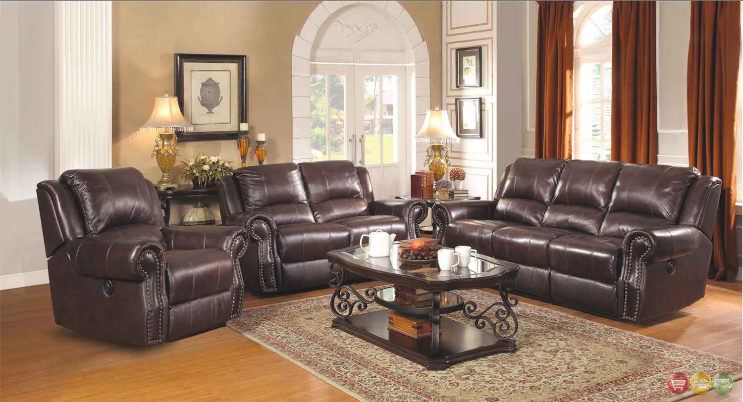 Sir Rawlinson Leather Motion Living Room Furniture Reclining Sofa Love Seat S