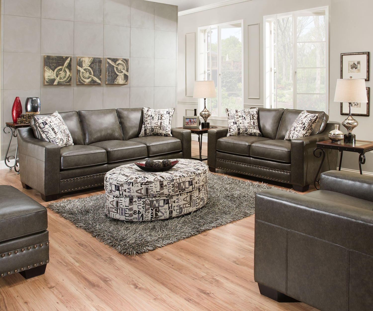 Inspirations For Transitional Living Room: Slate Gray Sofa & Love Seat W/ Nailhead Trim Transitional