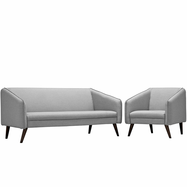 Slide Modern 2-pc Upholstered Sofa & Armchair Living Room Set, Light Gray