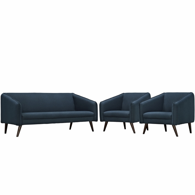 Mid-Century Modern Slide 3-pc Sofa & Armchairs Living Room Set, Azure