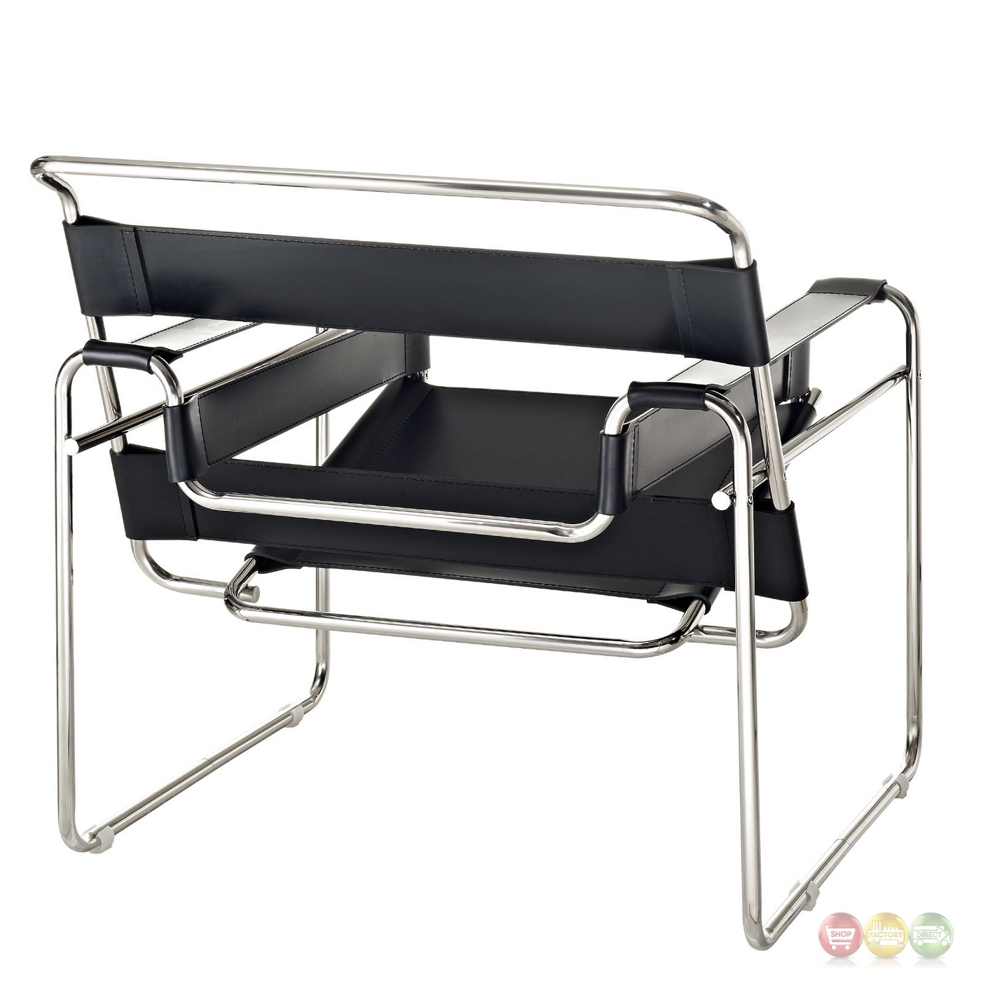 Slingy Modern Vinyl Strap Lounge Chair With Stainless