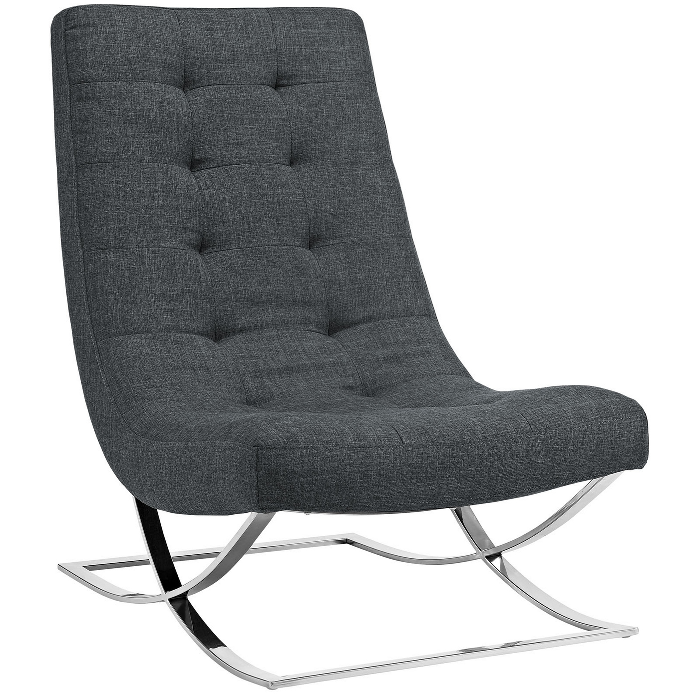 Slope Modern Button-tufted Fabric Lounge Chair With Chrome