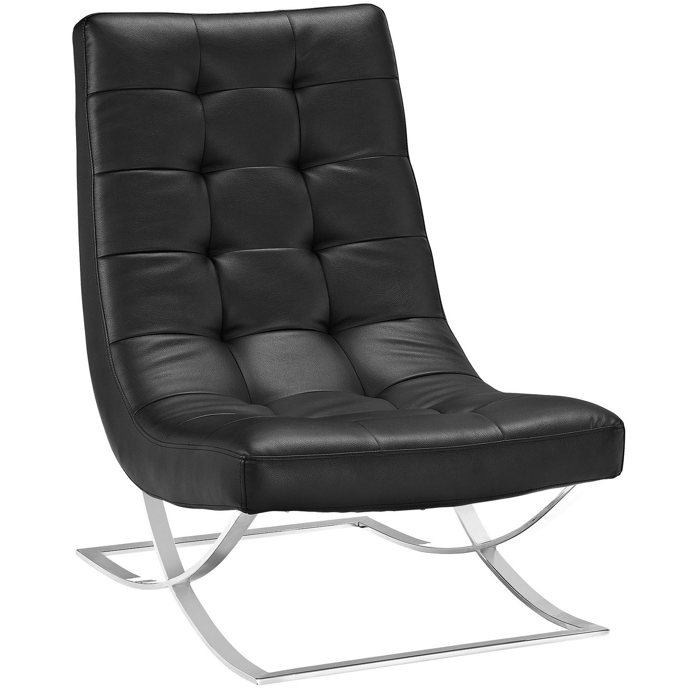 Slope Modern Button Tufted Vinyl Lounge Chair With Chrome