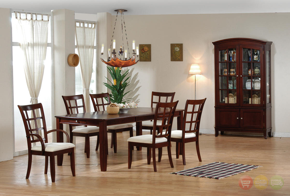 soho contemporary dining room furniture set dark cherry finish