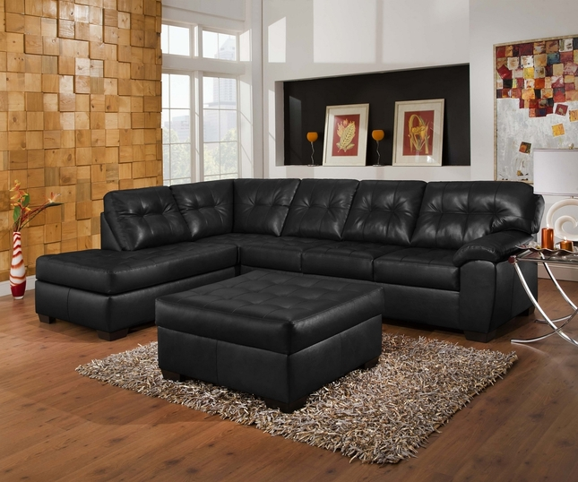 Soho Contemporary Black Bonded Leather Sectional Left Chaise Simmons