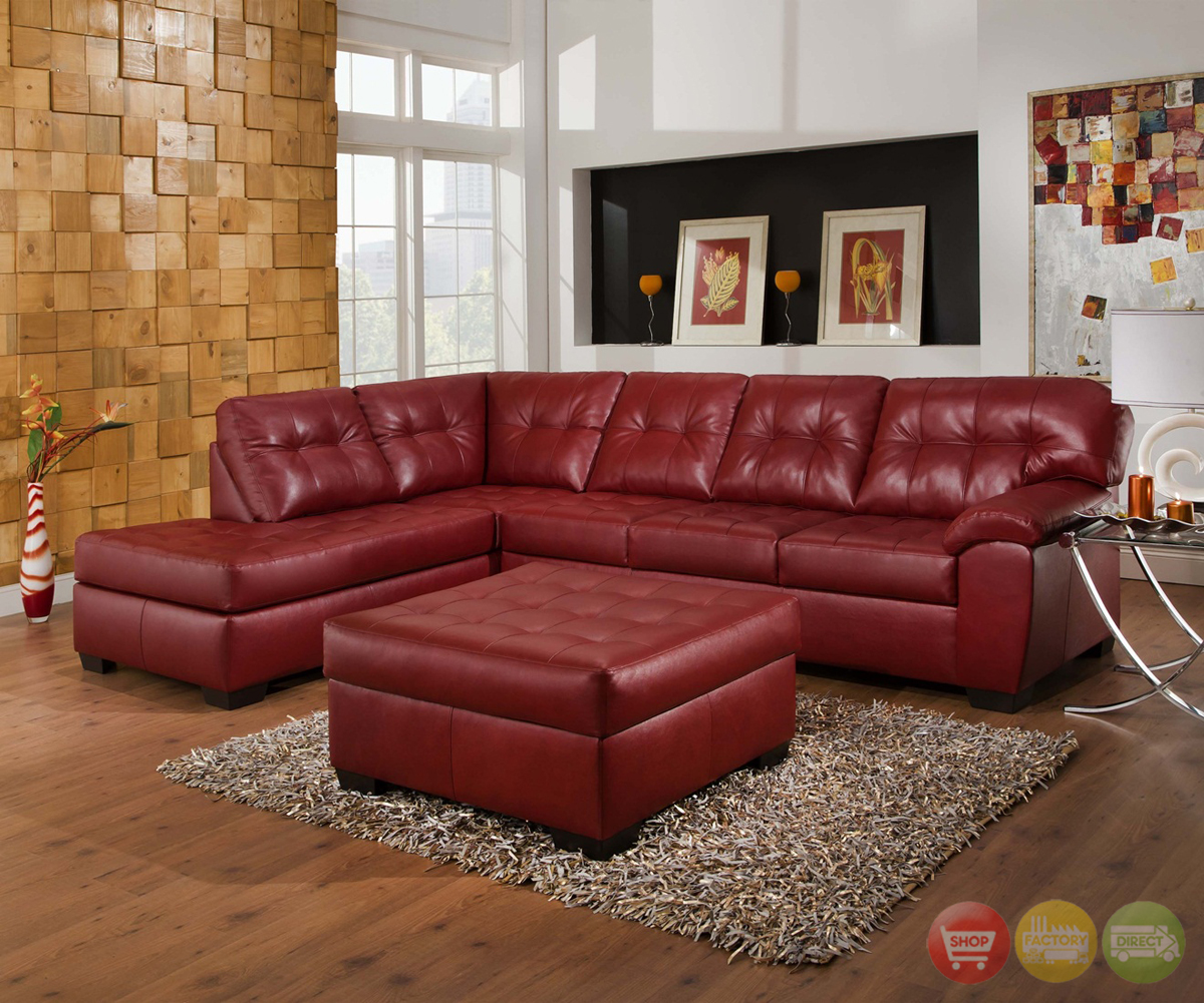 Small Red Leather Sofas: Soho Contemporary Red Leather Sectional Sofa W/ Left Chaise
