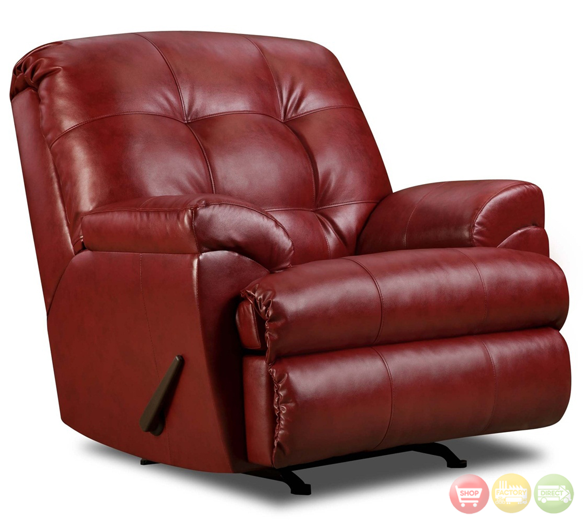 Soho Contemporary Red Bonded Leather Sectional Sofa W Left