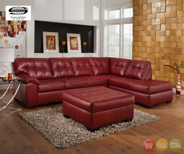 Soho Contemporary Red Bonded Leather Sectional Sofa w/ Chaise Simmons Brand