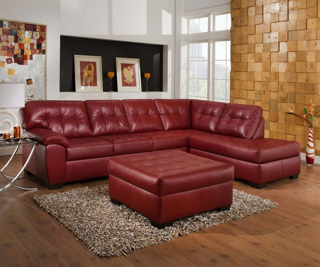 Soho Contemporary Red Bonded Leather Sectional Sofa w/ Chaise Simmons