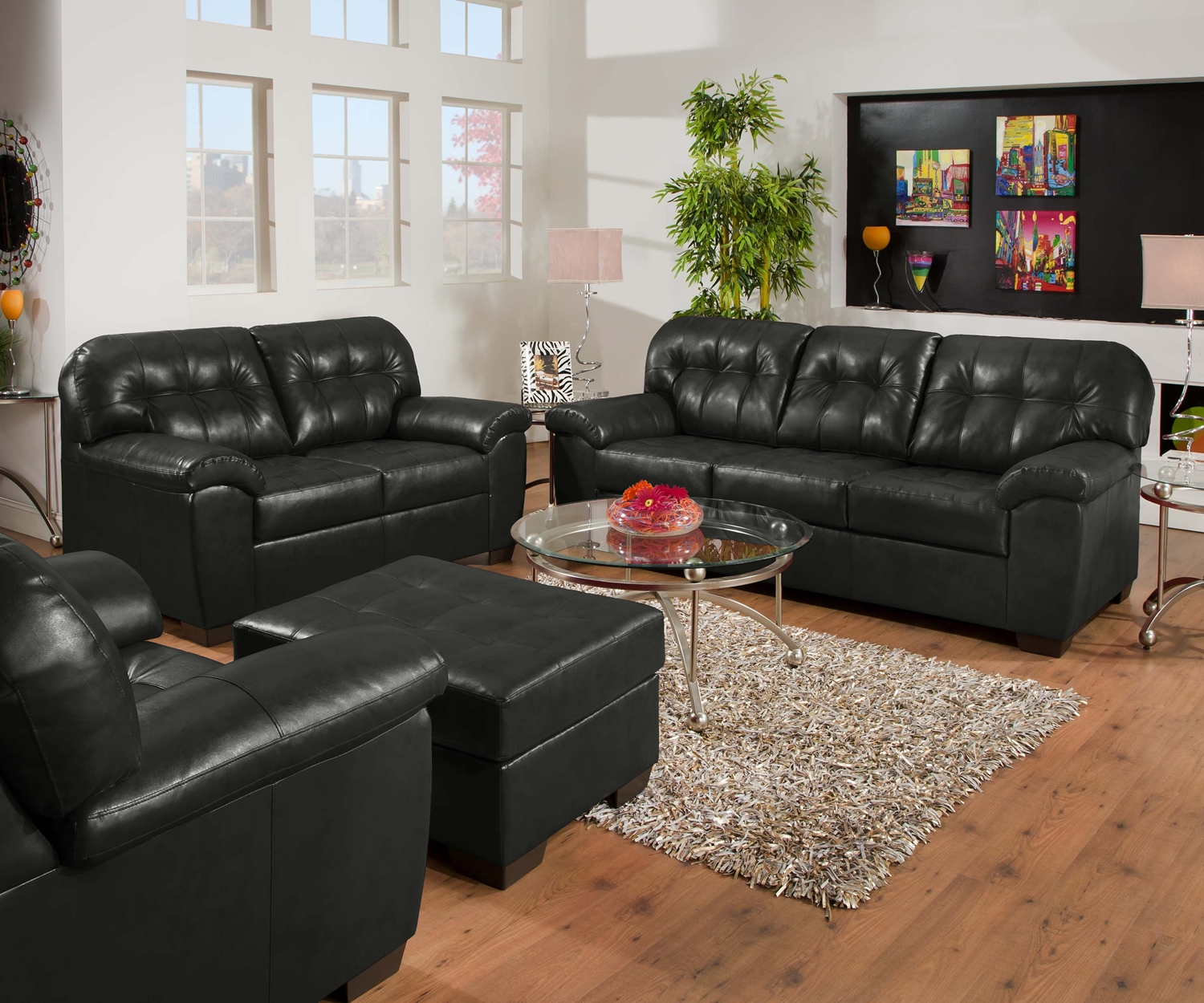 onyx black contemporary tufted bonded leather living room set simmons