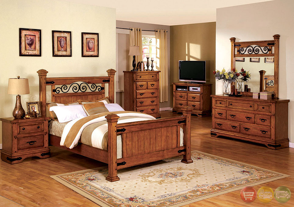 Sonoma Country American Oak Poster Bedroom Set with Rod Iron Design ...