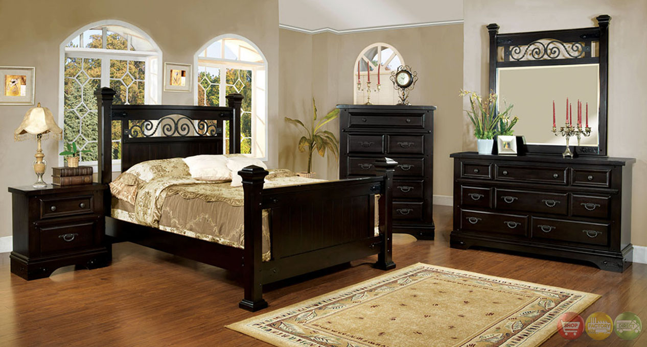 sonoma country espresso poster bedroom set with rod iron