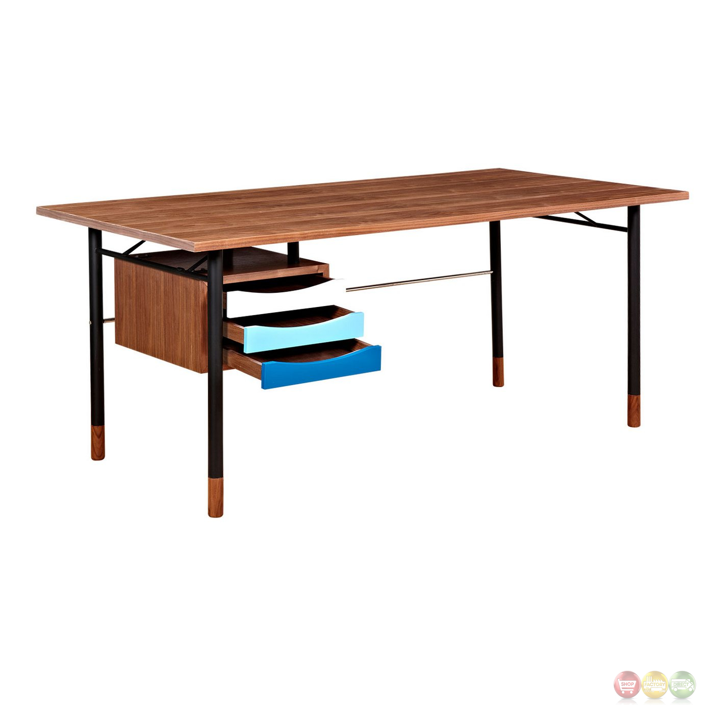 Soren Walnut Wood Writing Desk With Storage In Blue & White Finish. Full resolution‎  file, nominally Width 1400 Height 1400 pixels, file with #0378BE.