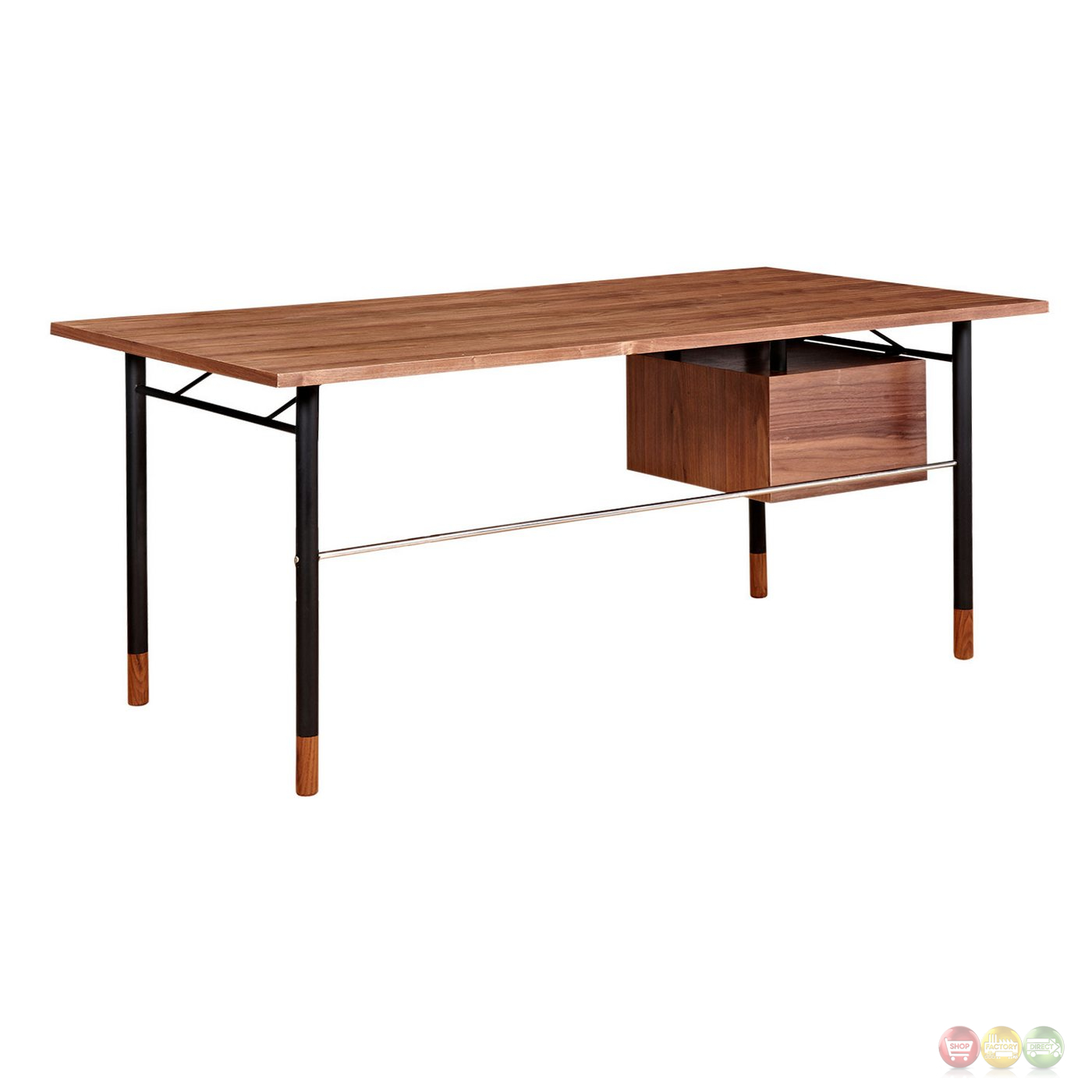 Soren Walnut Wood Writing Desk With Storage In Red & White Finish. Full resolution‎  file, nominally Width 1400 Height 1400 pixels, file with #773E27.