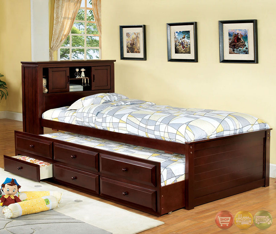 land cherry platform captain twin bed with bookcase headboard cm7763ch
