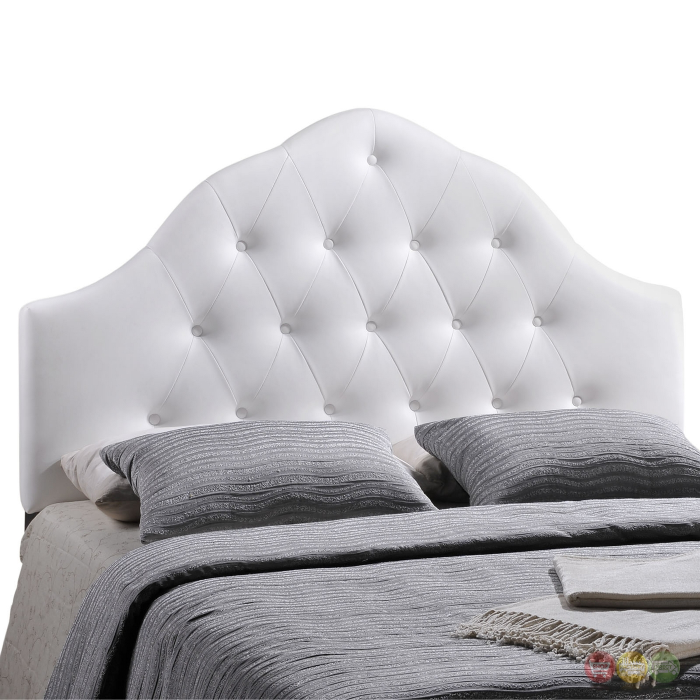 Sovereign French Inspired Button Tufted Full Faux Leather Headboard