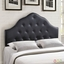 Sovereign French-inspired Button-tufted King Faux-leather Headboard, Black
