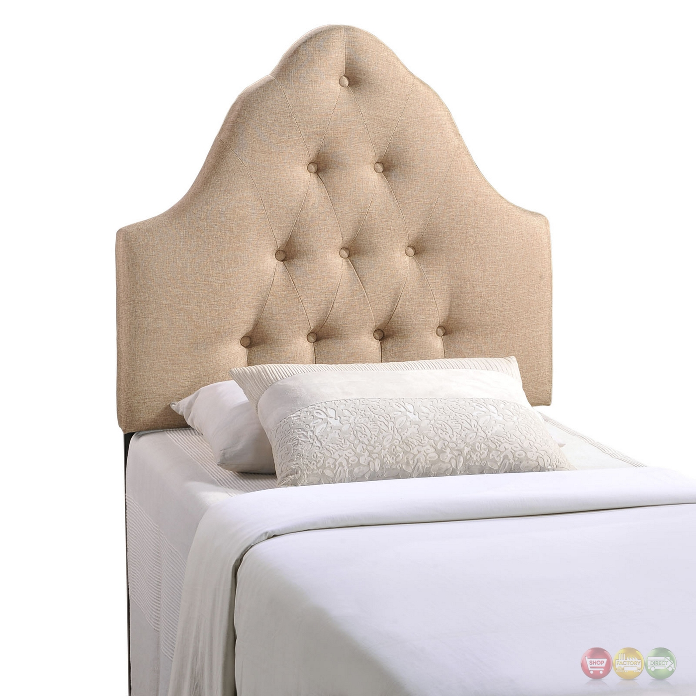 Sovereign French Inspired Button Tufted Twin Fabric Headboard Beige