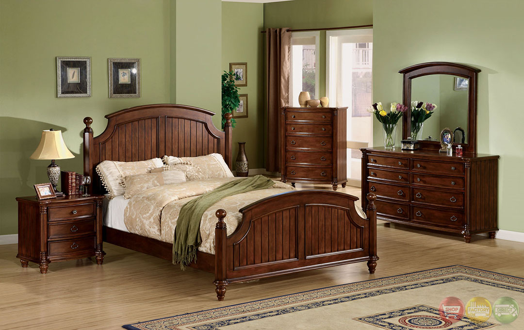 Spring Bay Cottage Brown Cherry Panel Bed Bedroom Set with