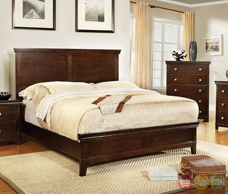 Spruce Transitional Brown Cherry Bedroom Set With Brushed Silver Pulls CM7113CH