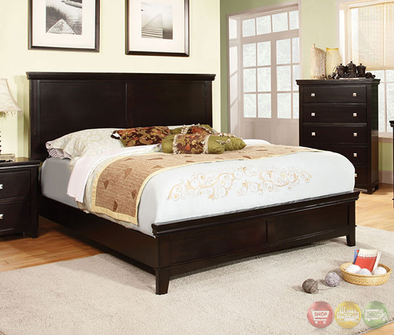 transitional espresso bedroom set with brushed silver pulls cm7113ex