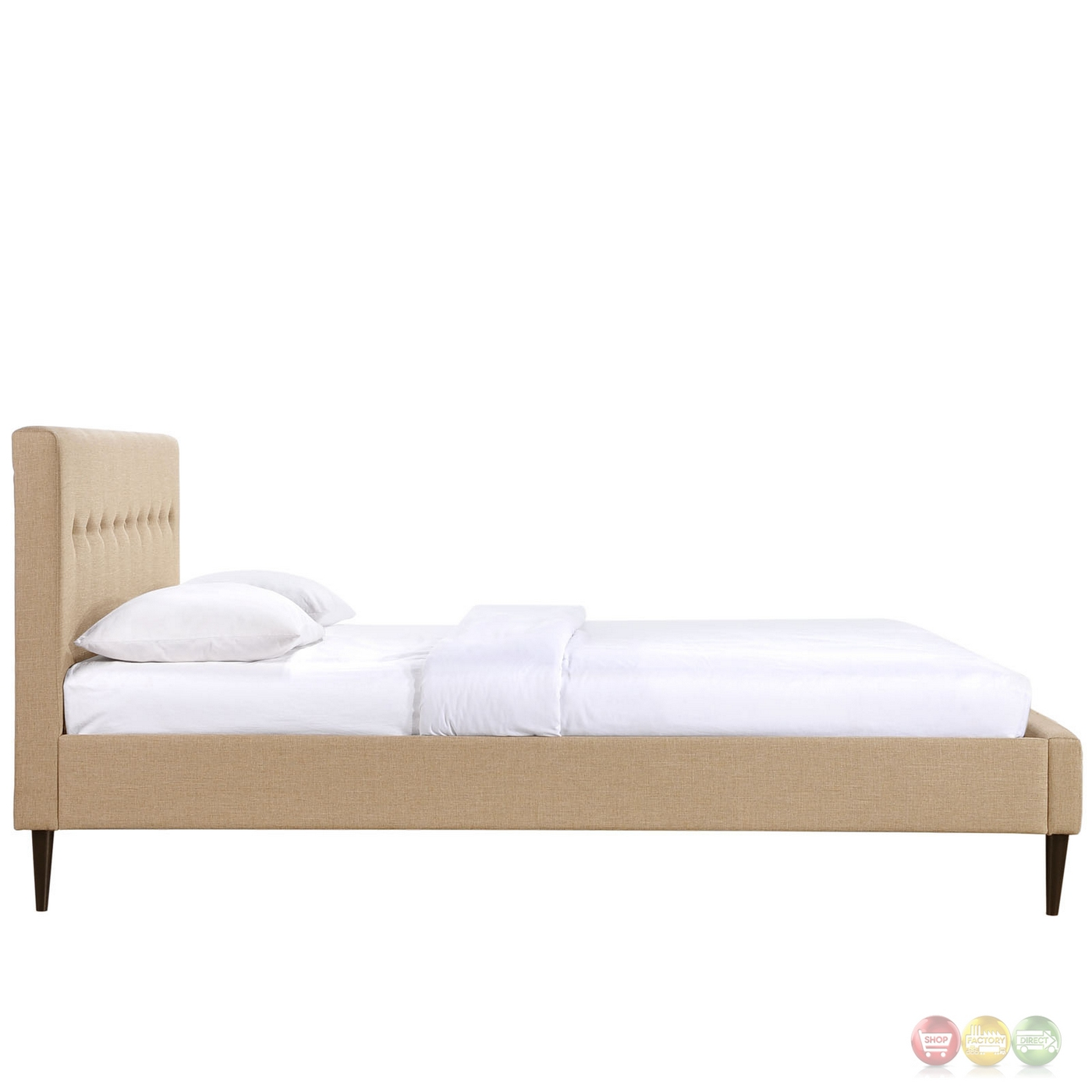 Stacy Modern Upholstered Button Line Tufted Queen Platform