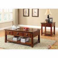 Stafford Traditional Dark Oak Accent Tables with Lift-top Storage CM4367