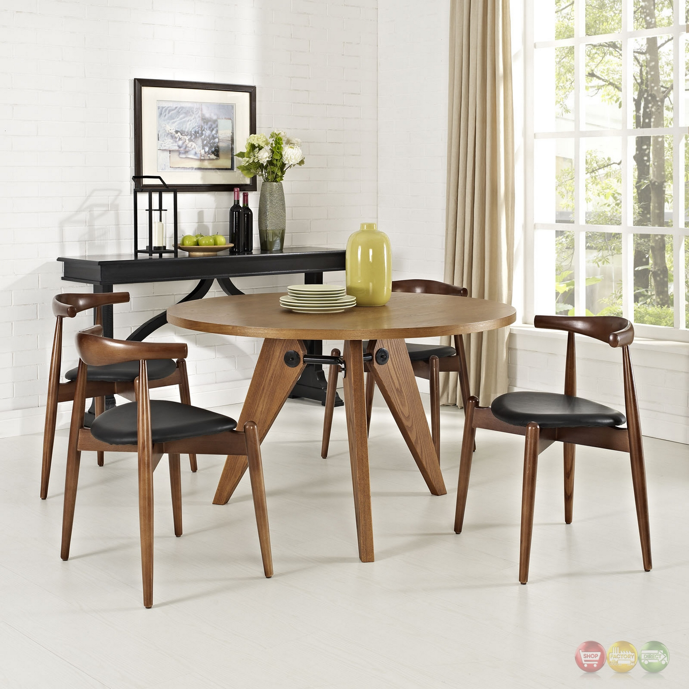Stalwart Contemporary Wood Dining Table Set W Upholstered Seats Dark Walnut