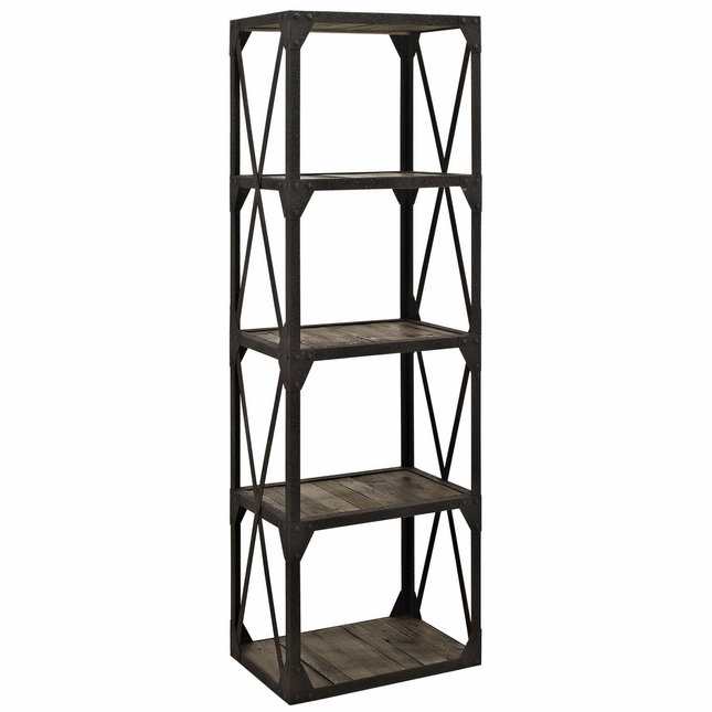 Stave Industrial Modern Bookshelf With Pine Shelves & Bolted Metal, Brown
