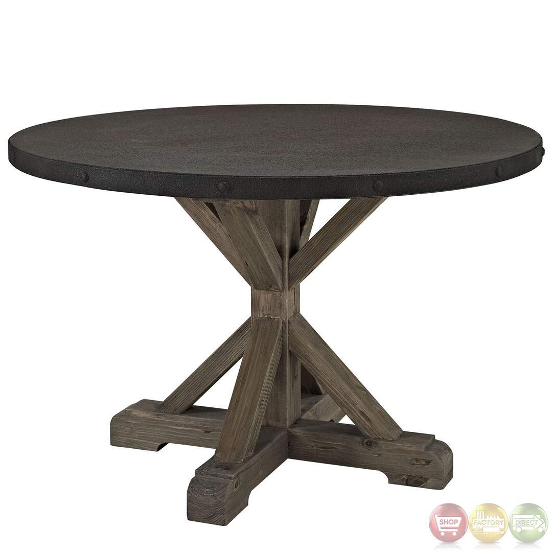 Stitch Wood Top Industrial Modern Indoor Dining Table