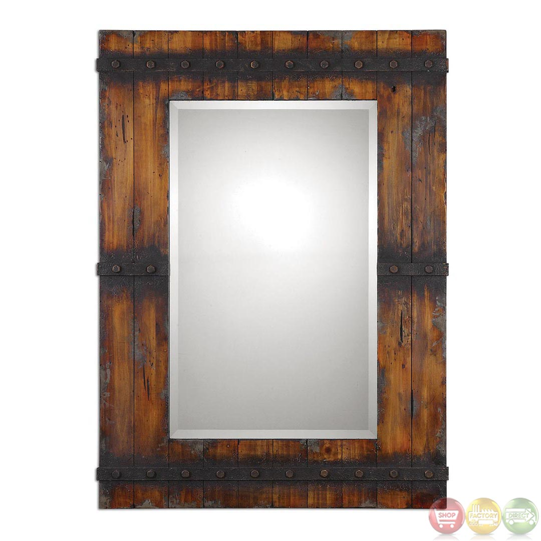 Stockley Traditional Antiqued Mahogany Wood Vanity Mirror With Unique High Style Design