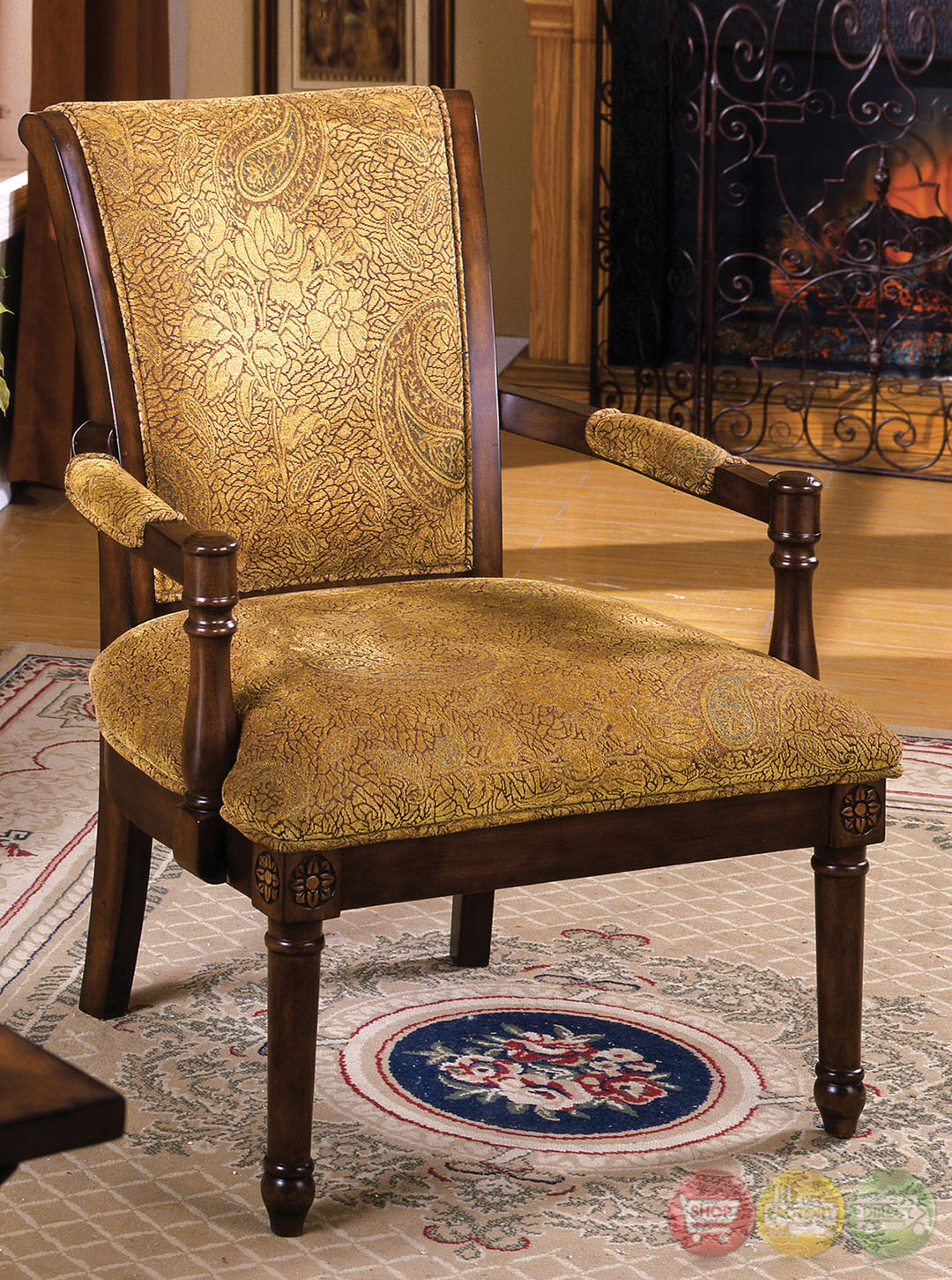 Stockton Antique Oak Accent Chair With Padded Fabric Seat
