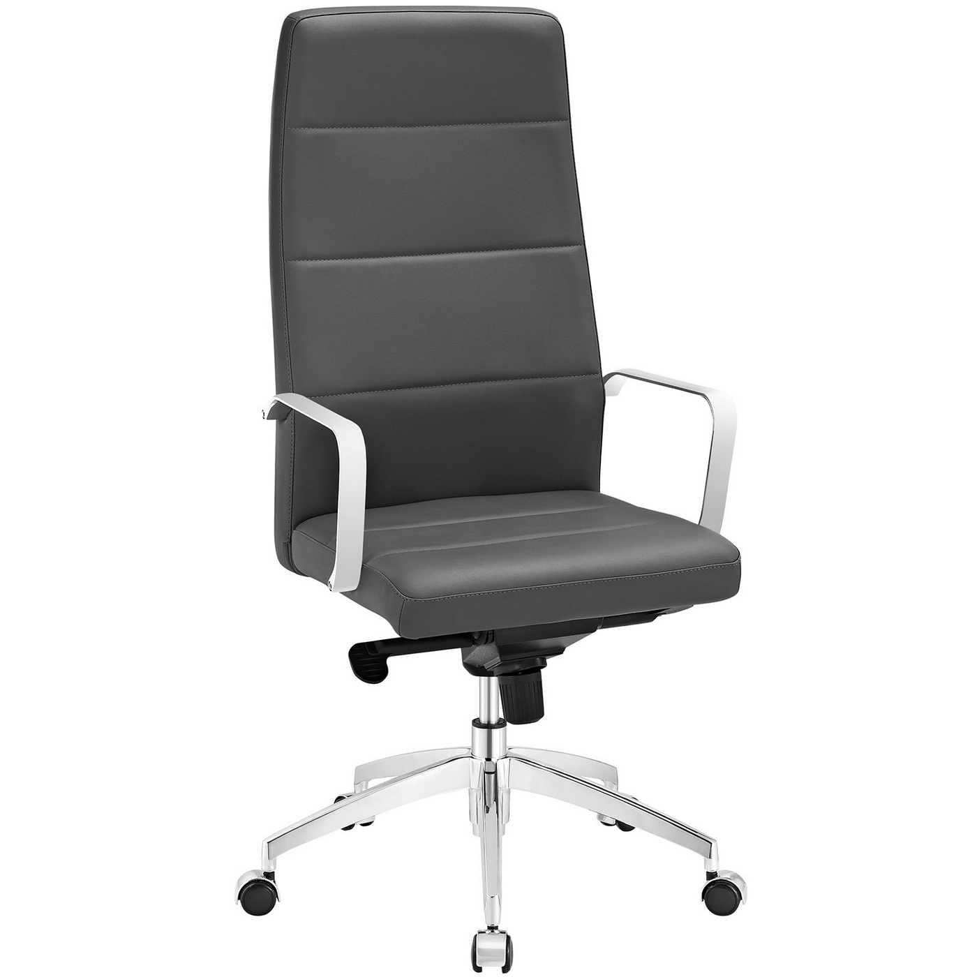 stride high back office chair upholstered in vinyl with chrome finish