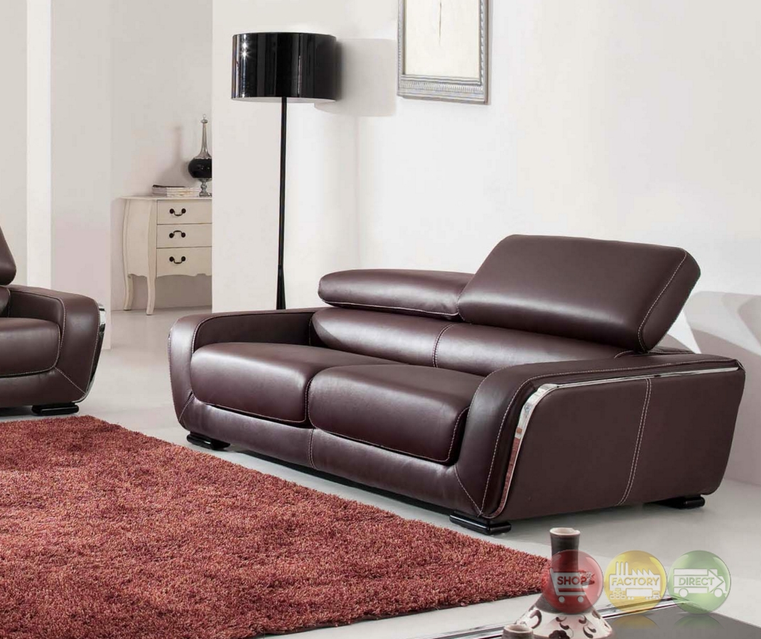 Ital Leather Sofa: Stylish Contemporary Modern Brown Genuine Italian Leather