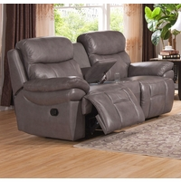 Summerlands Top Grain Leather Reclining Loveseat And Console In Smoke Grey