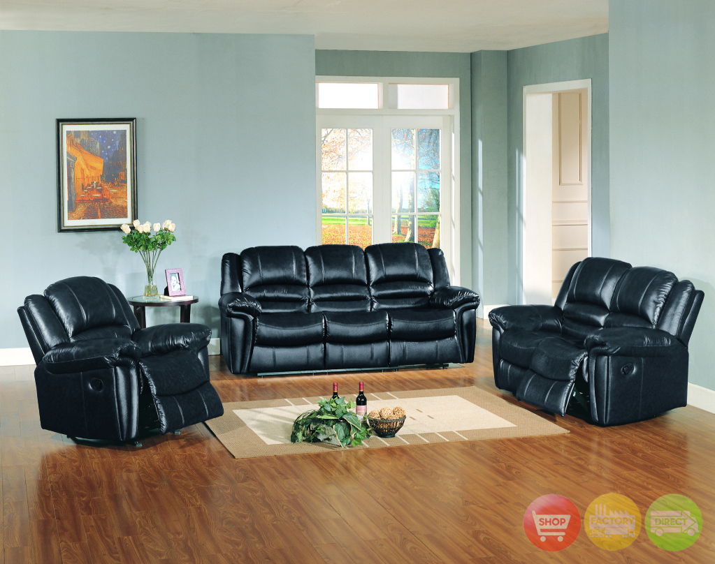 sutton black leather reclining sofa love seat motion living room set