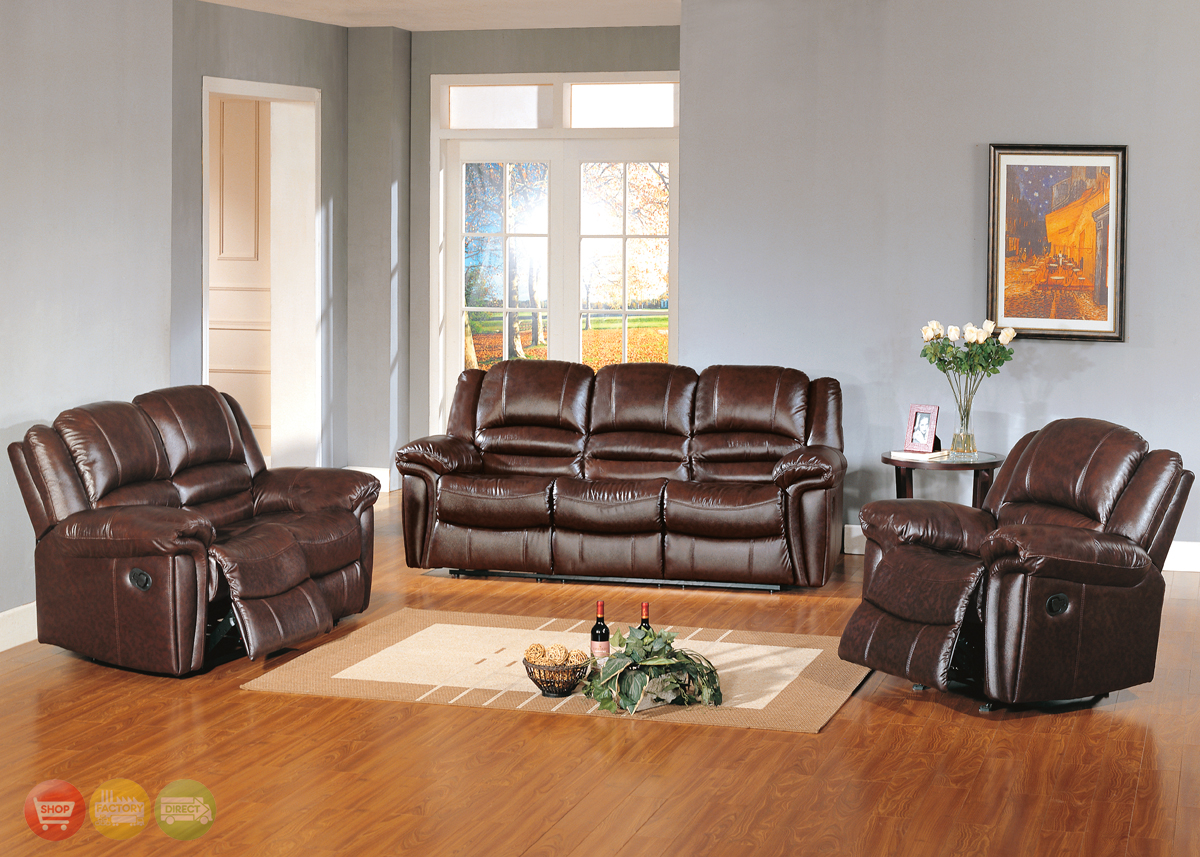 Sutton Brown Leather Reclining Sofa & Love Seat Motion Living Room Set