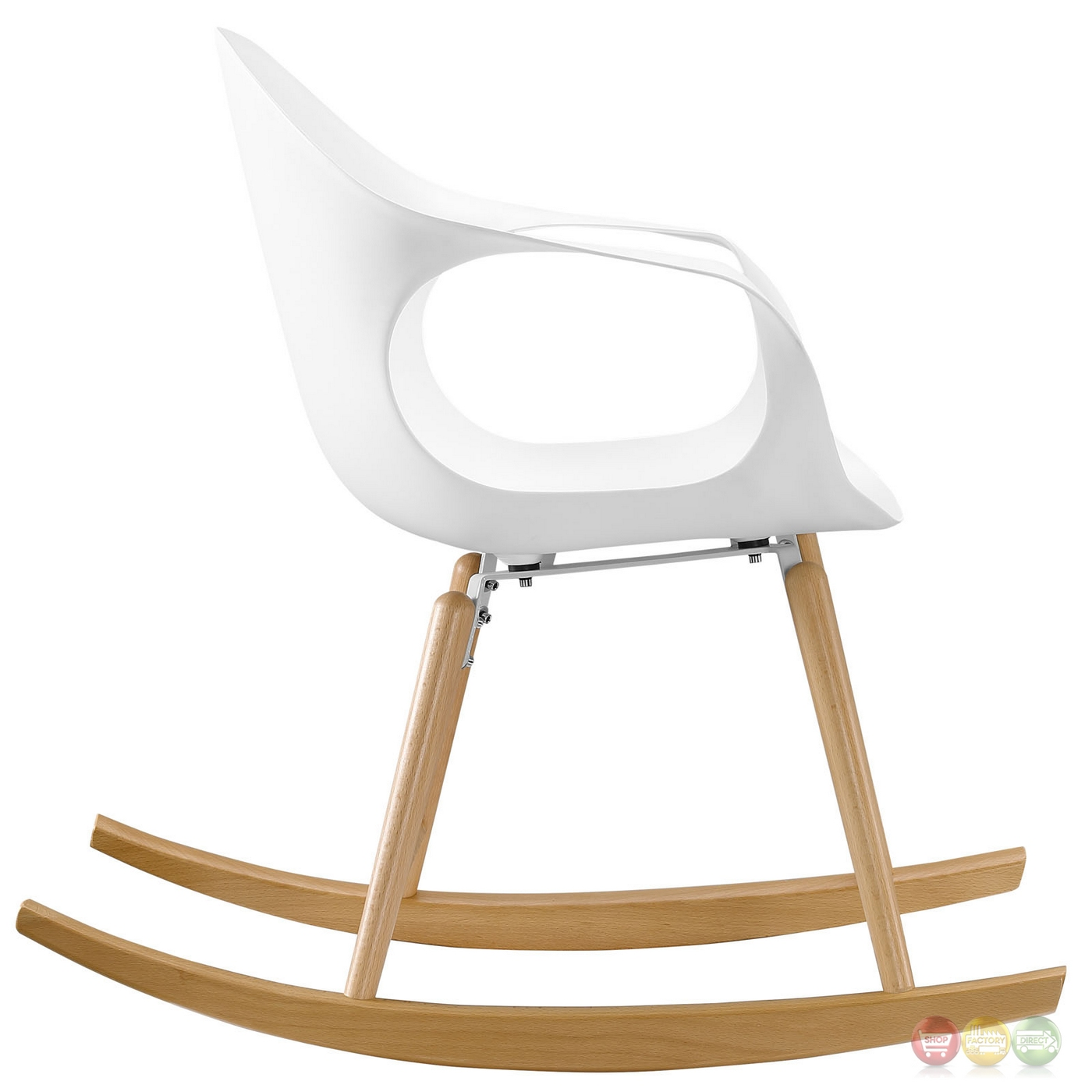 Swerve modern molded plastic rocking chair with solid wood - Modern white rocking chair ...