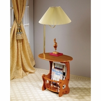 Swing Brass Lamp on Accent Table with Magazine Rack