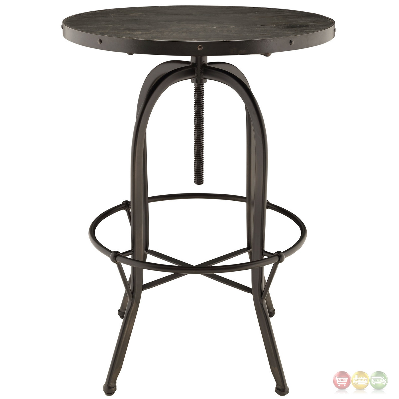 Sylvan industrial modern 23 5 round wood top bar table black - Table bar industriel ...