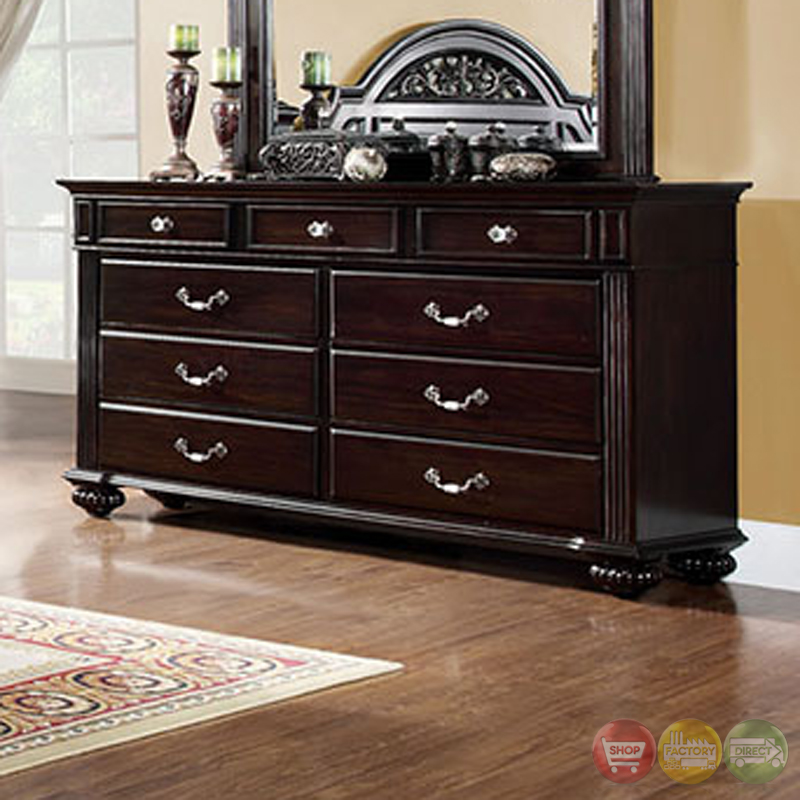 syracuse traditional dark walnut bedroom set with sturdy fluted bed