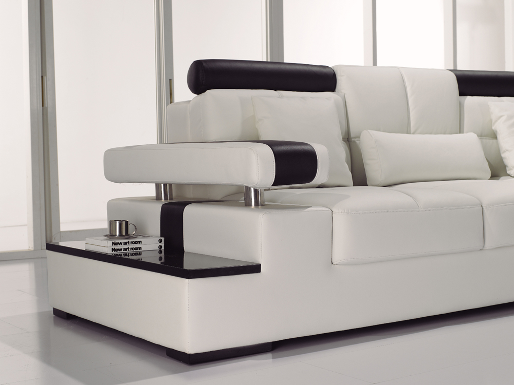 Contemporary Black Amp White Italian Leather Sectional Sofa T117
