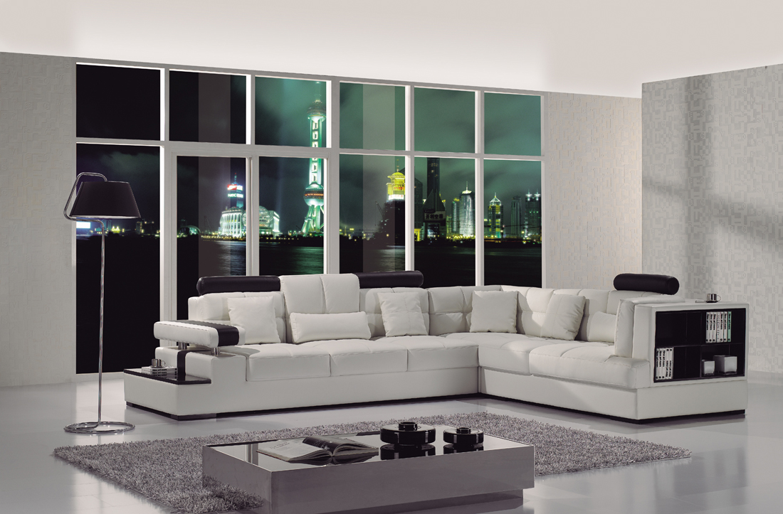 Contemporary Black Amp White Italian Leather Sectional Sofa