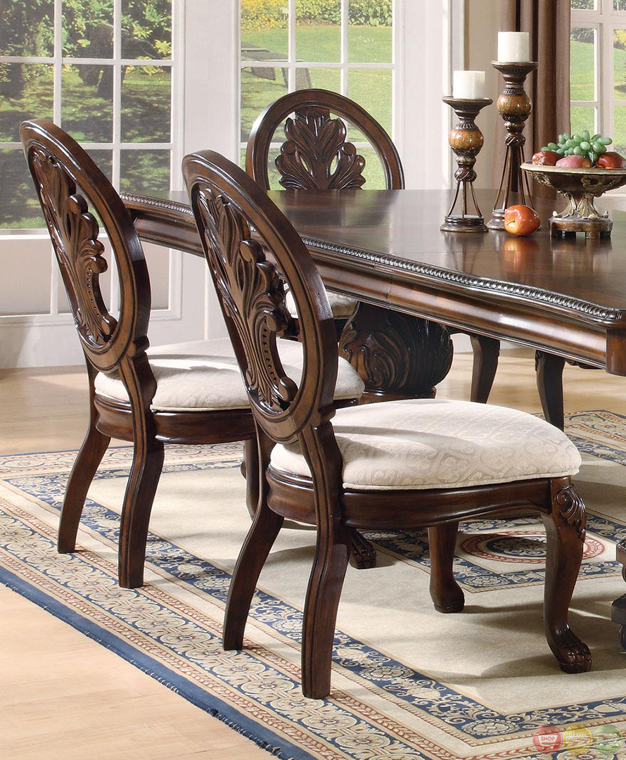 Andrea Cherry Finish Formal Dining Room Table Set: Tabitha Dark Cherry Finish Formal Dining Room Set