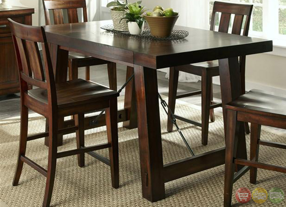 Counter Height Or Regular Dining Table : Tahoe Mahogany Finish Counter Height Dining Table Set