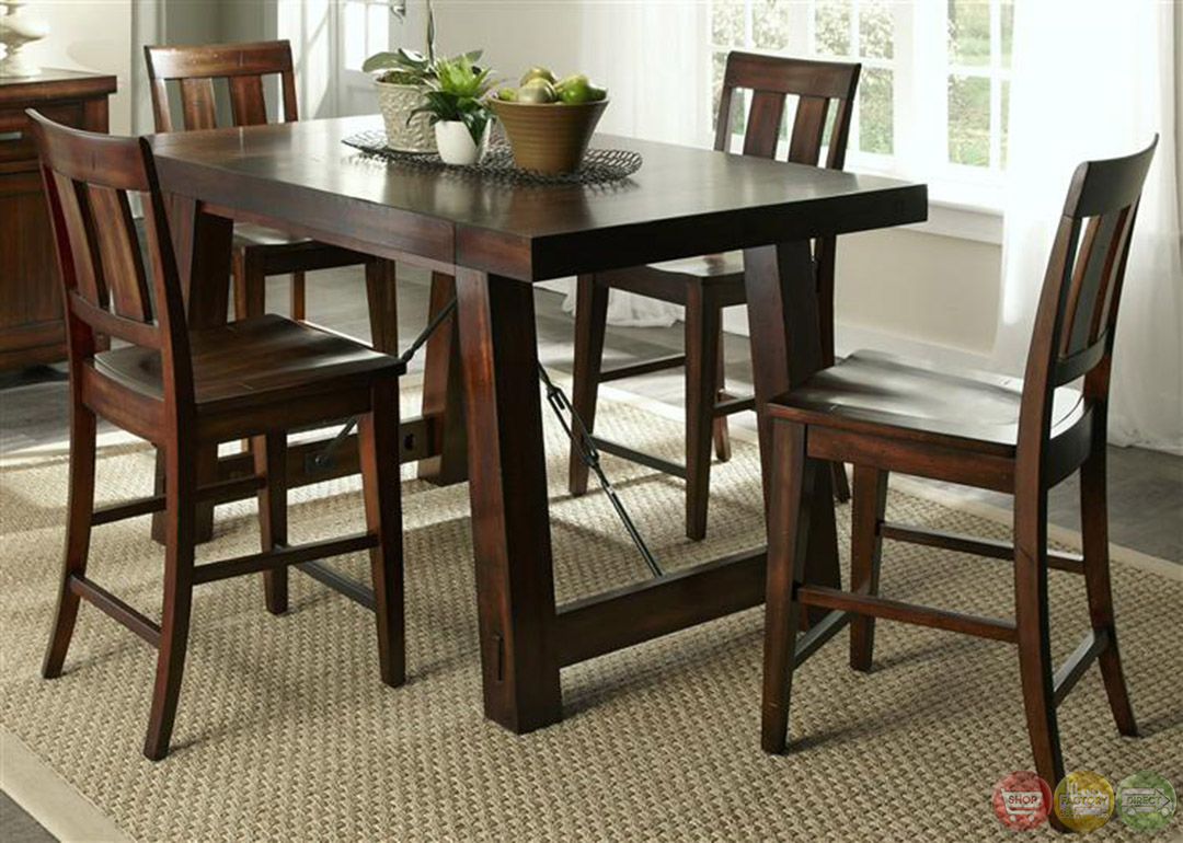 Tahoe Mahogany Finish Counter Height Dining Table Set. Full resolution  img, nominally Width 1080 Height 770 pixels, img with #7D8D3E.