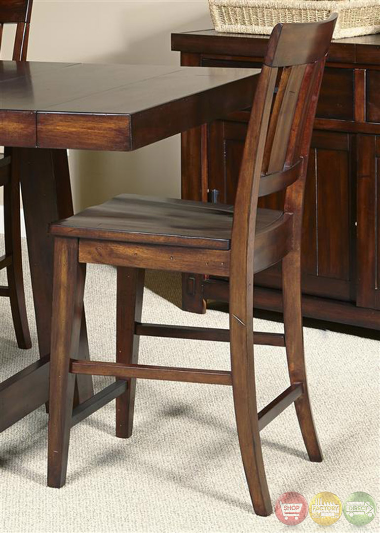 Counter Height Dining Table Set : Tahoe Mahogany Finish Counter Height Dining Table Set